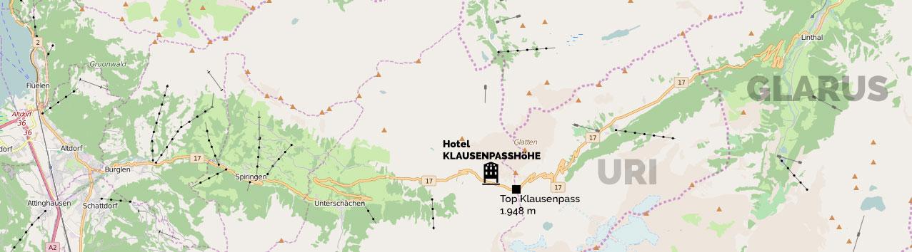 Klausenpass kaart